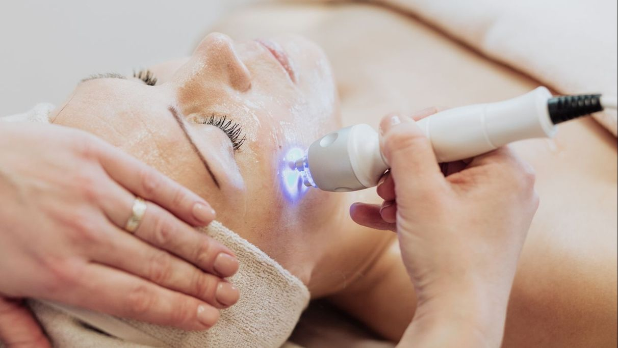 one of our clients having some laser hair removal treatment